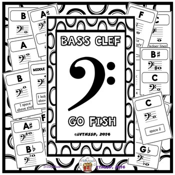 Bass Clef Go Fish (Black and White Covers)