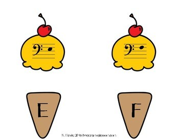 Bass Clef Ice Cream Matching Game for End of the Year or Summer Music Centers