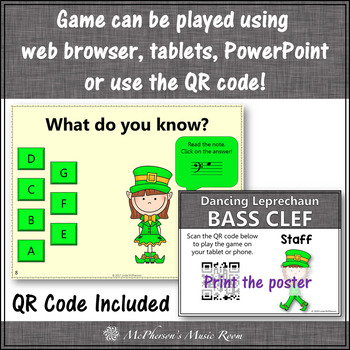 St. Patrick's Day Music: Bass Clef Interactive Music Game {Dancing Leprechaun}
