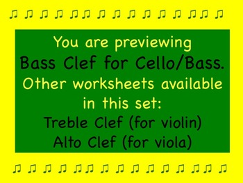 Bass Clef Lines and Spaces Worksheet