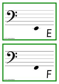 Bass Clef Musical Note Cards