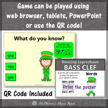 Bass Clef Note Name Words Interactive Music Game {Dancing Leprechaun}