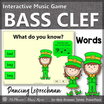 Bass Clef Note Name Words Interactive Music Game {Dancing
