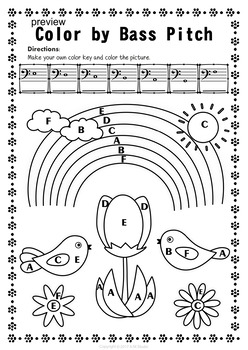 Bass Clef Note Naming Worksheets for Spring