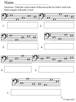 Bass Clef Note Reading Bundle - Music Assessments Lines/Spaces