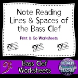 Music Worksheets:  Bass Clef Note Reading - Music Assessments Lines/Spaces