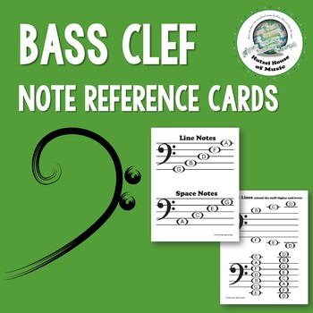 Bass Clef Note Reference Cards
