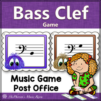 Bass Clef Music Game with or without ledger lines {Post Office}