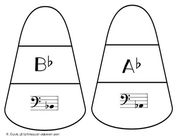 Bass Clef Sharps and Flats Candy Corn Matching Game for Fall Music Centers