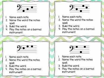 Bass Clef Task Cards