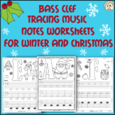 Bass Clef Tracing Music Notes Worksheets for Winter and Christmas