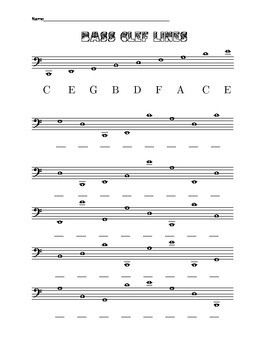 Bass Clef lines and spaces (including ledger lines) from l