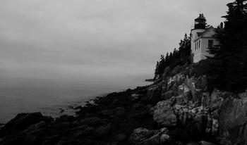 "! ""Lighthouse"" B&W Photograph - Bass Harbor Lighthouse-Mt"