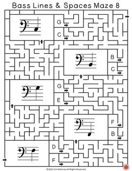 Bass Lines and Spaces Music Maze Puzzles
