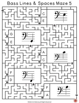 Music Games: Bass Lines and Spaces: Music Theory Maze Puzzles