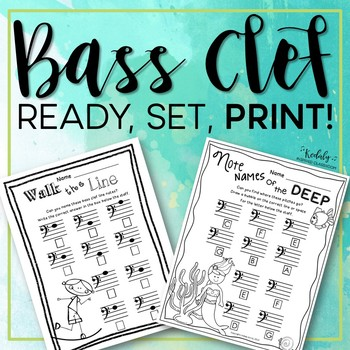 Bass Note Names Worksheet Pack
