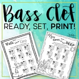 Music Worksheets - Bass Clef Note Names