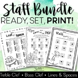 Music Worksheets - Staff Bundle (great for Distance Learning)