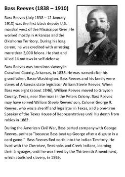 Bass Reeves Handout