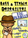 Bass and Treble Clef Note Naming Practice BUNDLE - Detective Music Activity