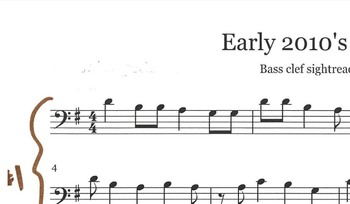 Bass clef sightreading with early 2010 pop tunes