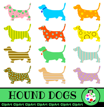 Basset Hound Dog Clip Art - Patterned Silhouettes