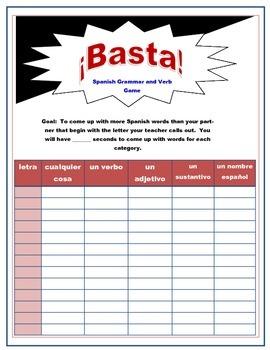Basta!  Spanish Verb and Grammar Game