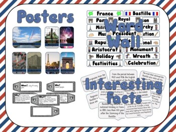 Bastille Day Bundle Posters, Word Wall, Student Workbook
