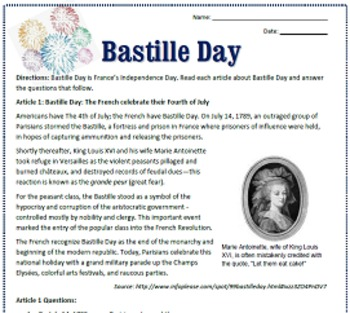 Bastille Day: Reading, Activities & Substitute Plan for French Class