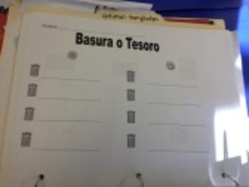 Spanish Trash or treasure activity: vocab vs. nonsense words
