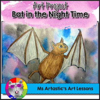 Halloween Art Lesson, Bat in the Night Time