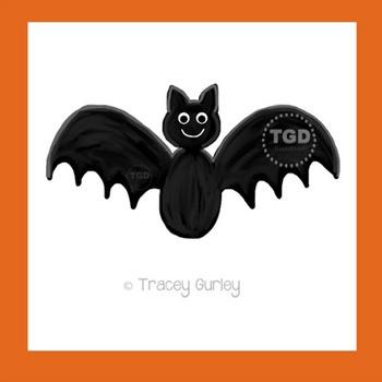 Bat Art, hand painted clip art, halloween Printable Tracey Gurley Designs