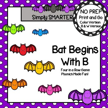 Bat Begins with B:  NO PREP Beginning Sounds Four in a Row Game