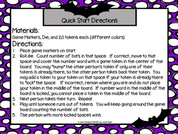 Bat Bump:  NO PREP Bat Themed Number Word Game