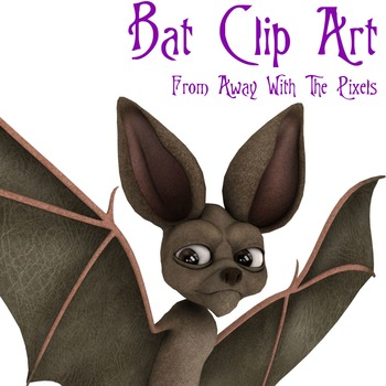 Bat Clip Art - 6 Color and Black and White Clipart Images