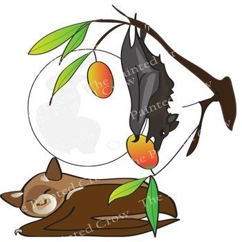 Bat Clip Art - Bat Ecology Set - 24 Piece - Color & Blackline