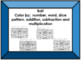 Bat Color Sheet (by number, word, dice patterns, +, -, x, etc.)