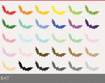 Bat Digital Clipart, Bat Graphics, Bat PNG, Rainbow Bat Digital Files