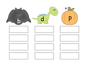 Bat, Dinosaur, or Pumpkin - a fall sorting activity for b, d, and p confusion