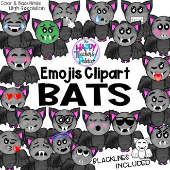 HTP Clip Art Bat Emojis Watercolor {The Happy Teacher's Palette}