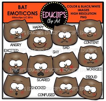 Bat Emoticons Clip Art Bundle  {Educlips Clipart}