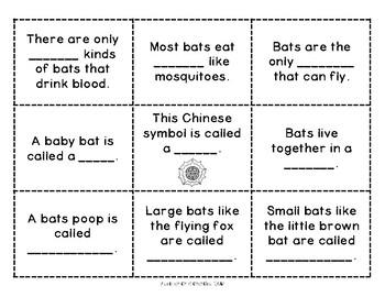 Bat Fact Cards and Activities