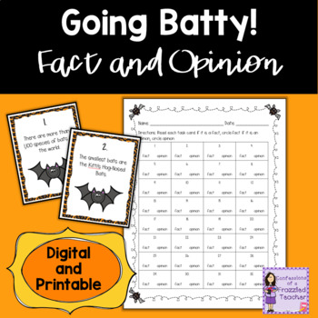Bat Fact and Opinion Task Cards