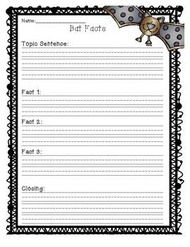 Bat Facts Writing Orgainzer