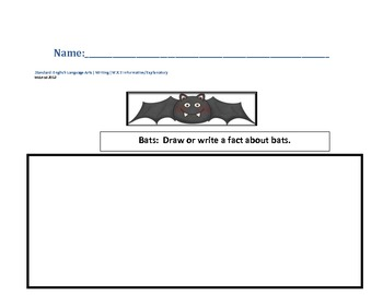 Bat Facts Writing Prompt for Common Core W.K.2 Informative/Explanatory Texts