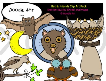 Bat & Friends Clipart Pack