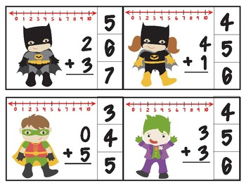 Bat Heroes Number Line Addition Clip Cards