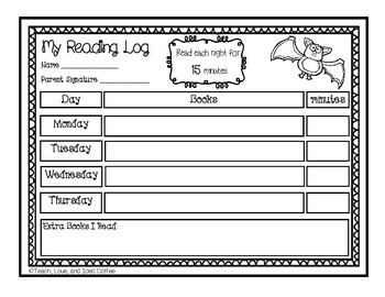 Bat Homework Reading Log