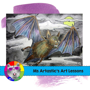 Halloween Art Lesson, Bat in the Night Sky