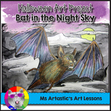 Halloween Art Project, Bat in the Night Sky